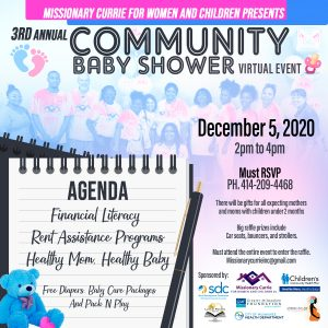 Missionary Currie Community baby shower EFlyer 2020
